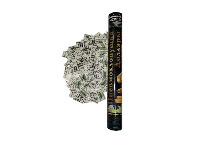 Пневмохлопушка 40 см Бумажные доллары