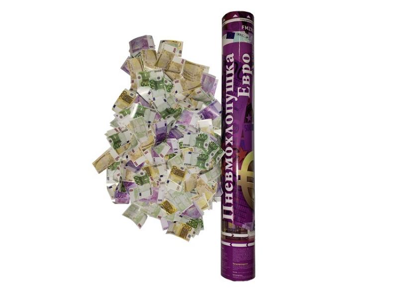 Пневмохлопушка 40 см Бумажные евро